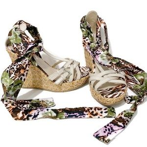 CALL IT SPRING LACE UP FLORAL WEDGE